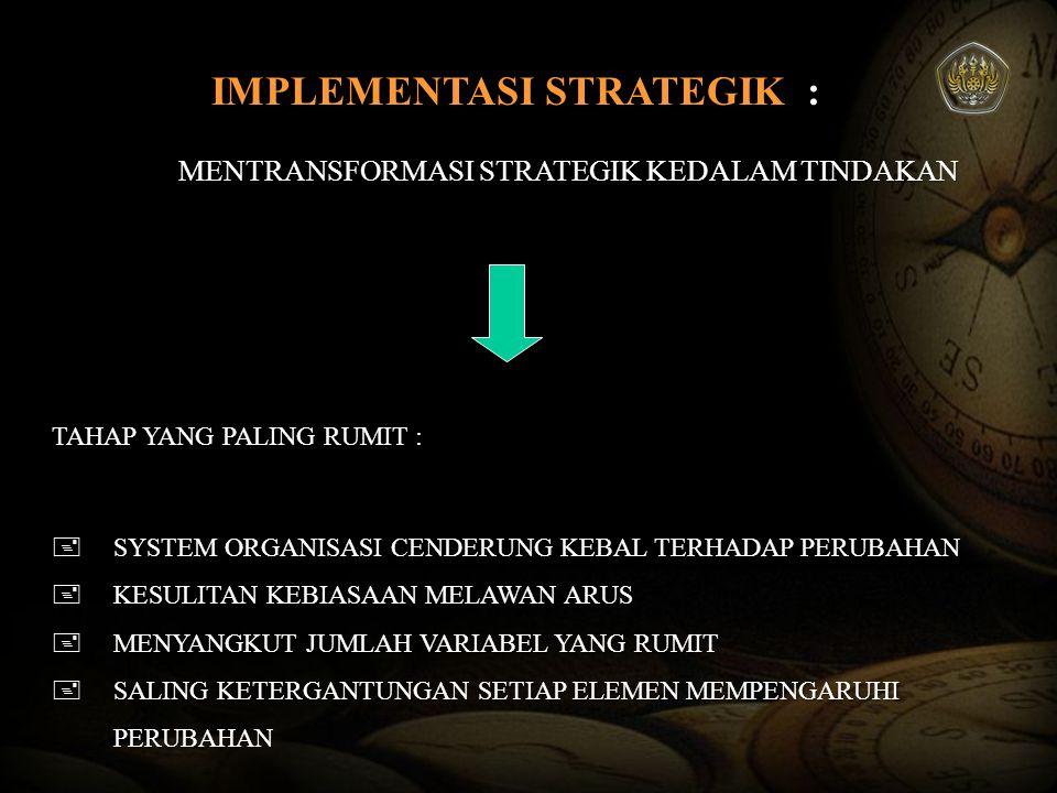 IMPLEMENTASI DAN EVALUASI STRATEGIK IMPLEMENTASI KUNCI KEBERHASILAN Tahapan Implementasi strategi Tahapan Implementasi strategi Siapa yang menjalankan .