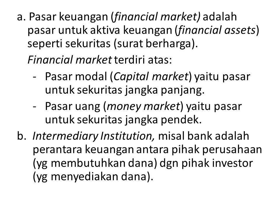 a. Pasar keuangan (financial market) adalah pasar untuk aktiva keuangan (financial assets) seperti sekuritas (surat berharga). Financial market terdir
