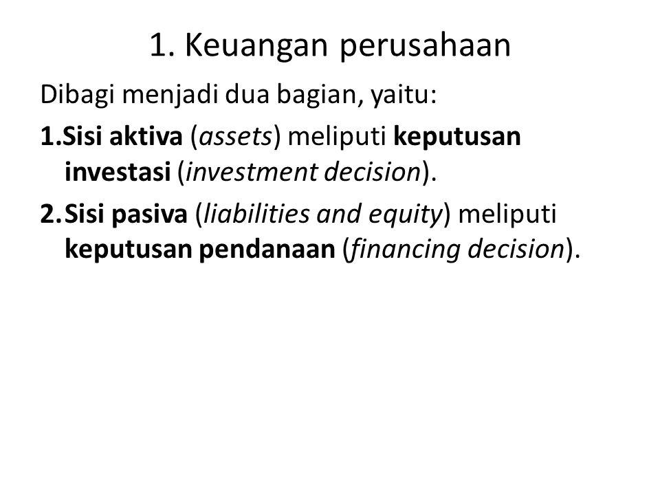 1. Keuangan perusahaan Dibagi menjadi dua bagian, yaitu: 1.Sisi aktiva (assets) meliputi keputusan investasi (investment decision). 2.Sisi pasiva (lia