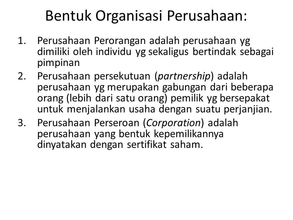 Bentuk Organisasi Perusahaan: 1.Perusahaan Perorangan adalah perusahaan yg dimiliki oleh individu yg sekaligus bertindak sebagai pimpinan 2. Perusahaa