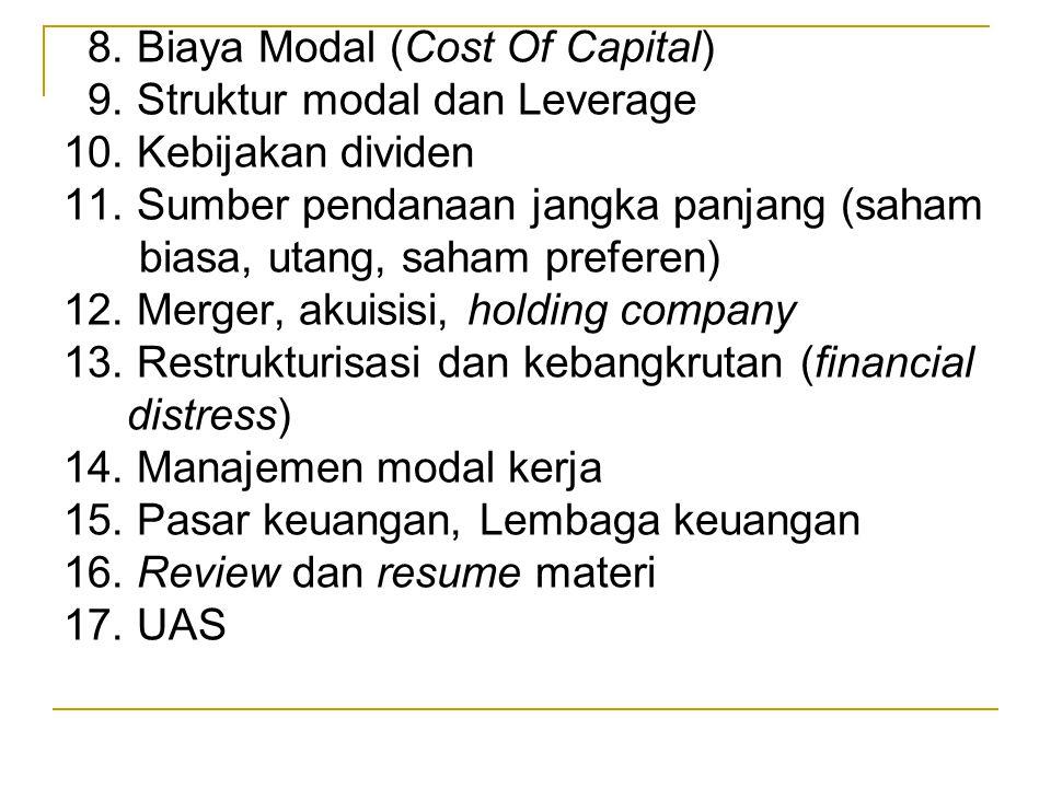 8. Biaya Modal (Cost Of Capital) 9. Struktur modal dan Leverage 10. Kebijakan dividen 11. Sumber pendanaan jangka panjang (saham biasa, utang, saham p