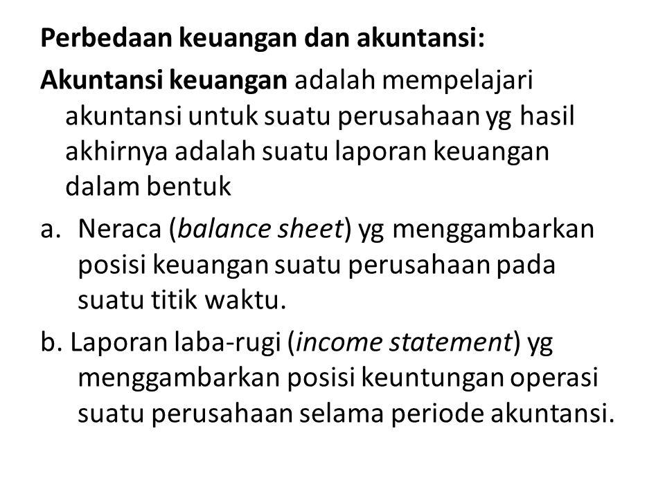 Perbedaan keuangan dan akuntansi: Akuntansi keuangan adalah mempelajari akuntansi untuk suatu perusahaan yg hasil akhirnya adalah suatu laporan keuang