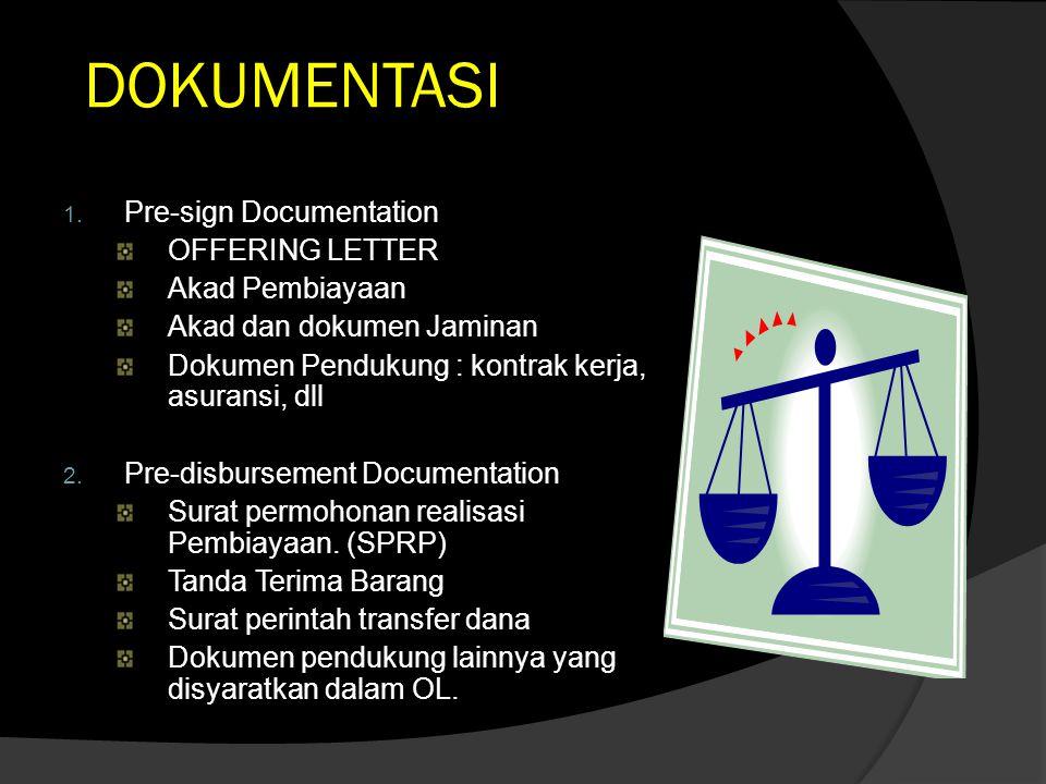 DOKUMENTASI 1. Pre-sign Documentation OFFERING LETTER Akad Pembiayaan Akad dan dokumen Jaminan Dokumen Pendukung : kontrak kerja, asuransi, dll 2. Pre