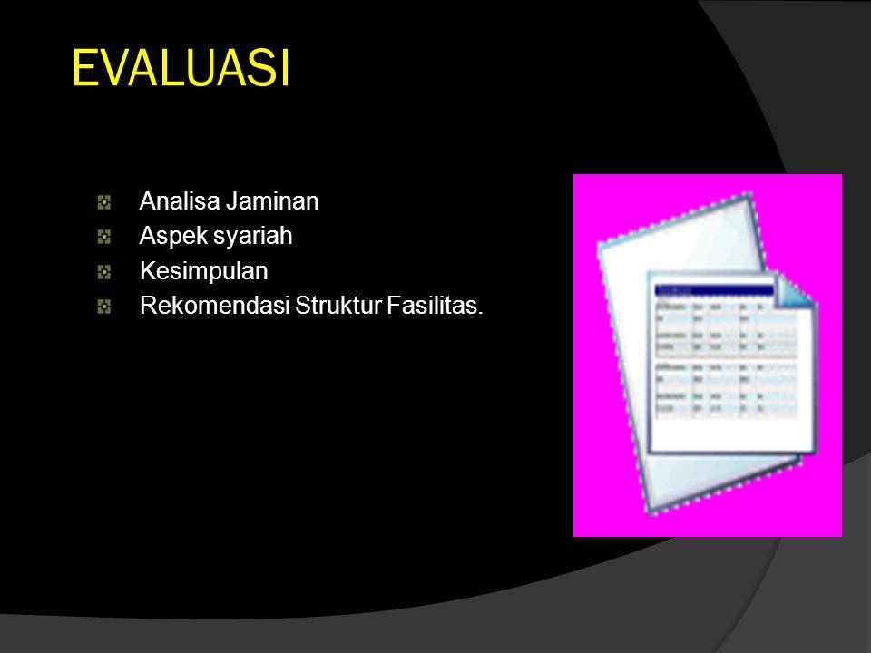 EVALUASI Analisa Jaminan Aspek syariah Kesimpulan Rekomendasi Struktur Fasilitas.