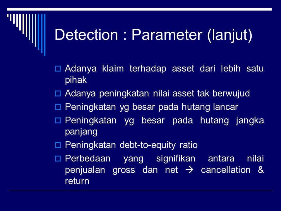 Detection : Parameter (lanjut)  Adanya klaim terhadap asset dari lebih satu pihak  Adanya peningkatan nilai asset tak berwujud  Peningkatan yg besa