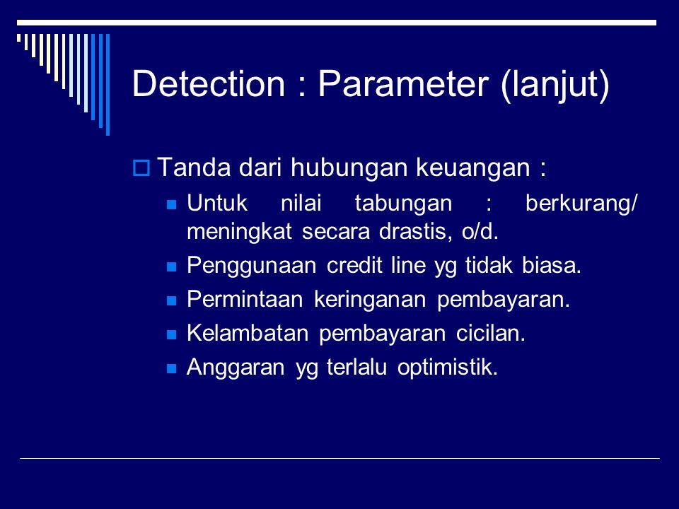 Detection : Parameter (lanjut)  Tanda dari hubungan keuangan : Untuk nilai tabungan : berkurang/ meningkat secara drastis, o/d. Penggunaan credit lin