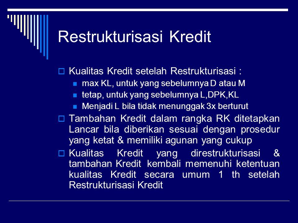 Restrukturisasi Kredit  Kualitas Kredit setelah Restrukturisasi : max KL, untuk yang sebelumnya D atau M tetap, untuk yang sebelumnya L,DPK,KL Menjad