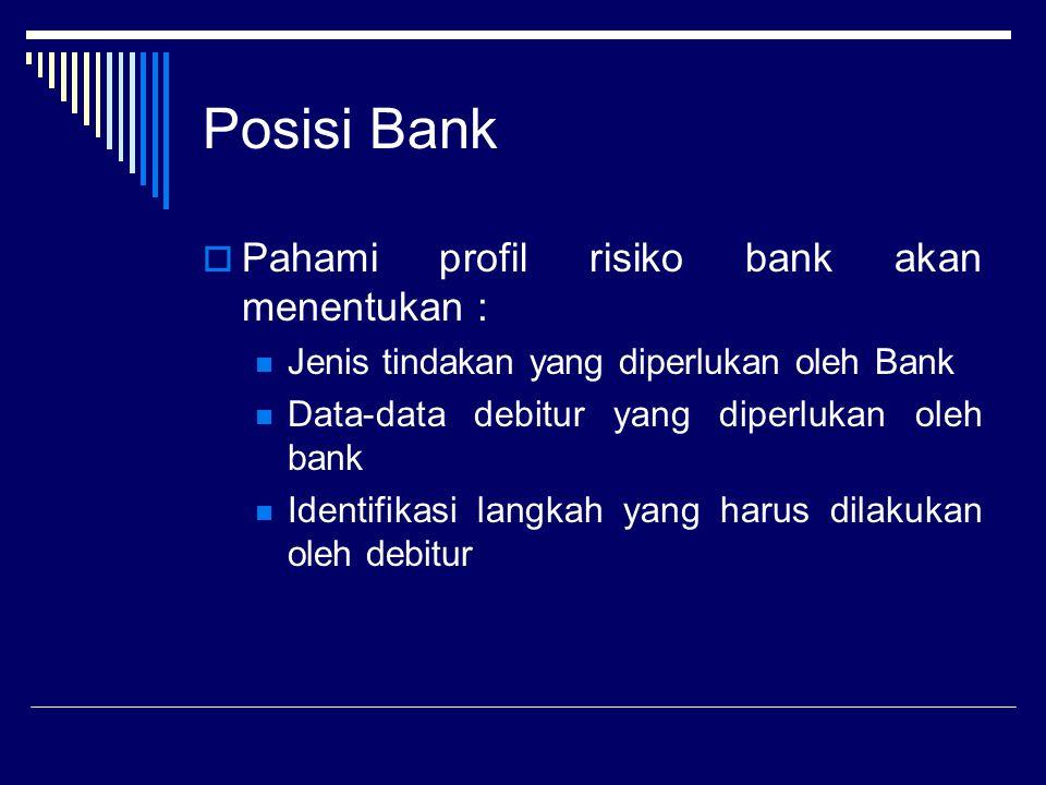 Posisi Bank  Pahami profil risiko bank akan menentukan : Jenis tindakan yang diperlukan oleh Bank Data-data debitur yang diperlukan oleh bank Identif