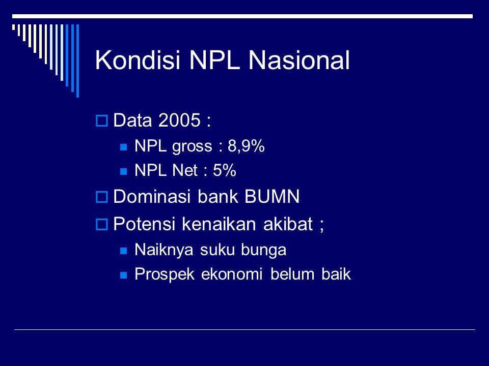 Kondisi NPL Nasional  Data 2005 : NPL gross : 8,9% NPL Net : 5%  Dominasi bank BUMN  Potensi kenaikan akibat ; Naiknya suku bunga Prospek ekonomi b