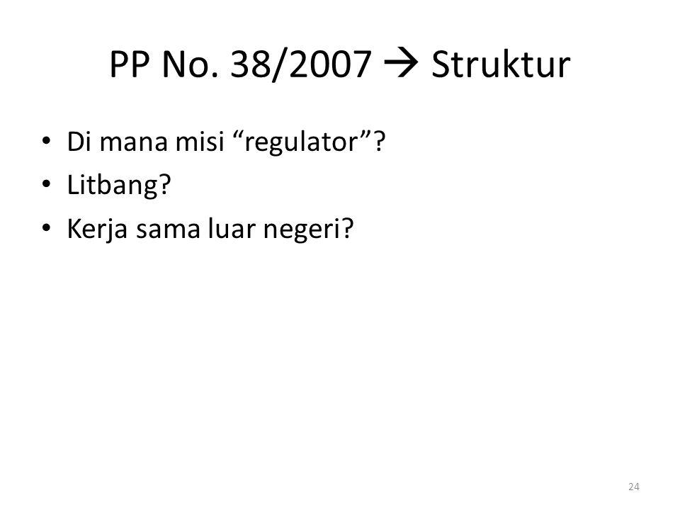 """PP No. 38/2007  Struktur Di mana misi """"regulator""""? Litbang? Kerja sama luar negeri? 24"""