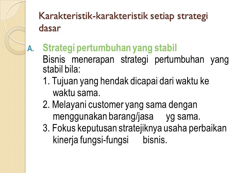 Karakteristik-karakteristik setiap strategi dasar A. Strategi pertumbuhan yang stabil Bisnis menerapan strategi pertumbuhan yang stabil bila: 1. Tujua