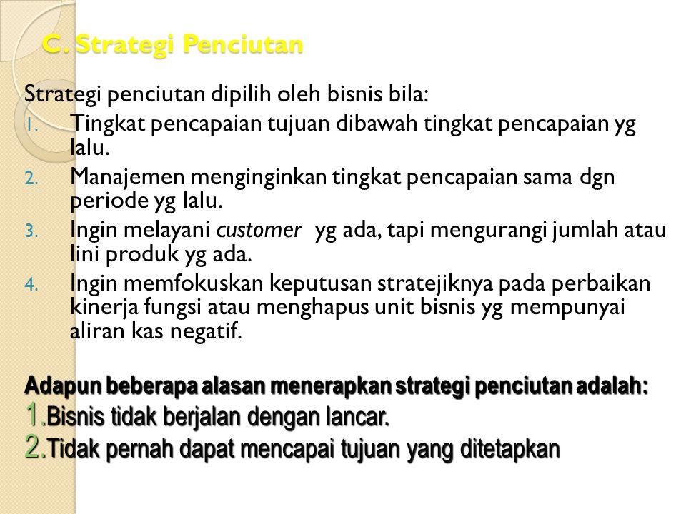 C. Strategi Penciutan Strategi penciutan dipilih oleh bisnis bila: 1. Tingkat pencapaian tujuan dibawah tingkat pencapaian yg lalu. 2. Manajemen mengi