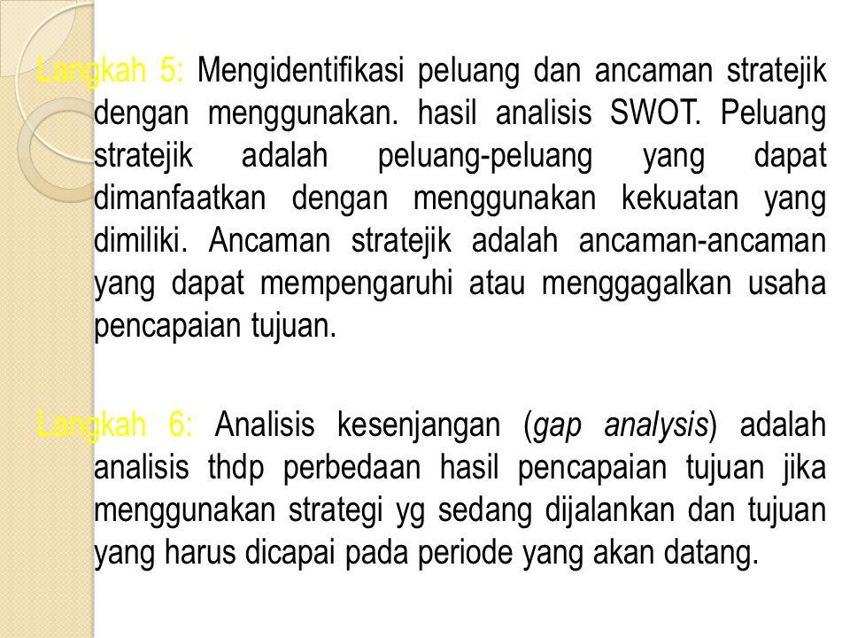 Langkah 5: Mengidentifikasi peluang dan ancaman stratejik dengan menggunakan. hasil analisis SWOT. Peluang stratejik adalah peluang-peluang yang dapat