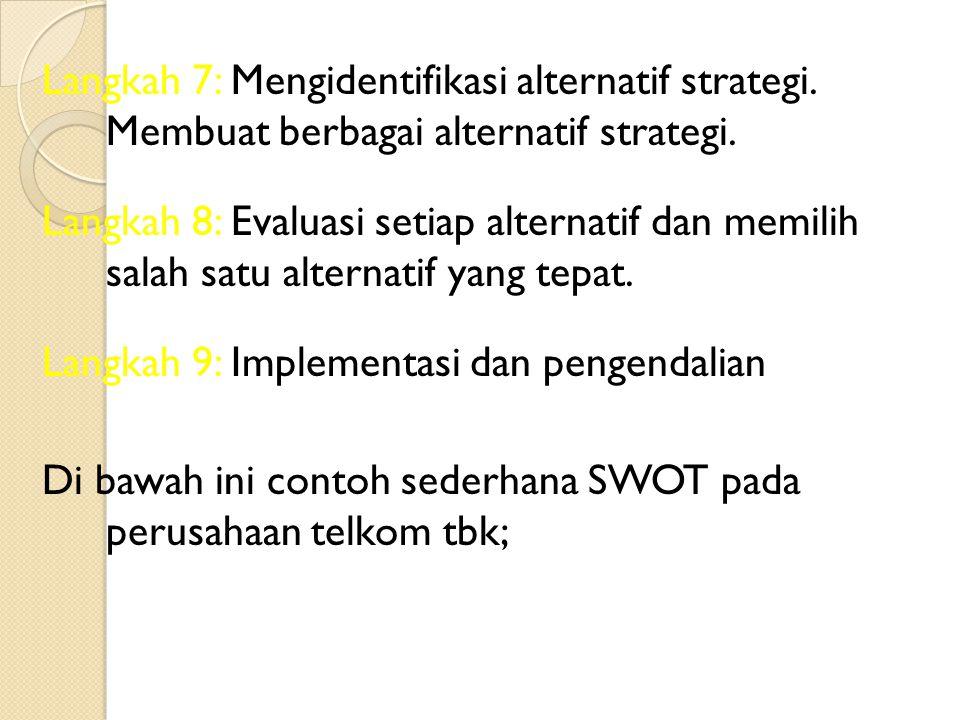 Langkah 7: Mengidentifikasi alternatif strategi.Membuat berbagai alternatif strategi.