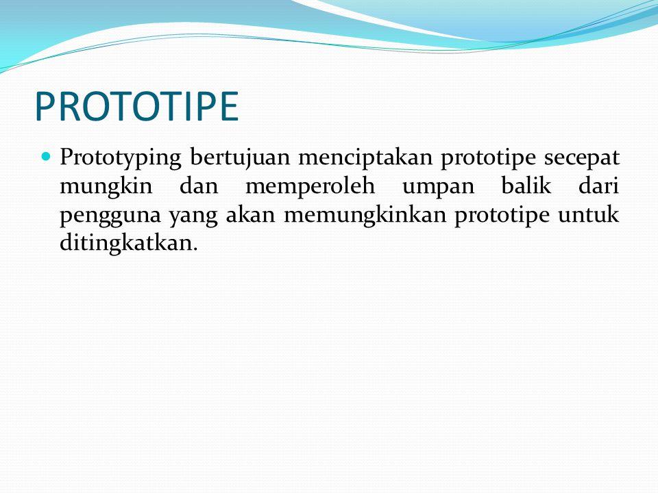 Jenis-Jenis Prototipe Prototipe Evolusioner, adalah prototipe yang secara terus menerus diperbaiki sampai semua kriteria sistem yang baru yang dibutuhkan pengguna terpenuhi.