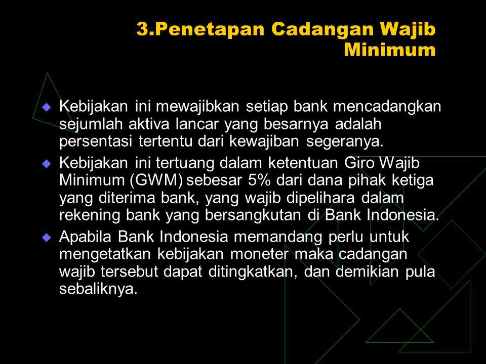 3.Penetapan Cadangan Wajib Minimum  Kebijakan ini mewajibkan setiap bank mencadangkan sejumlah aktiva lancar yang besarnya adalah persentasi tertentu