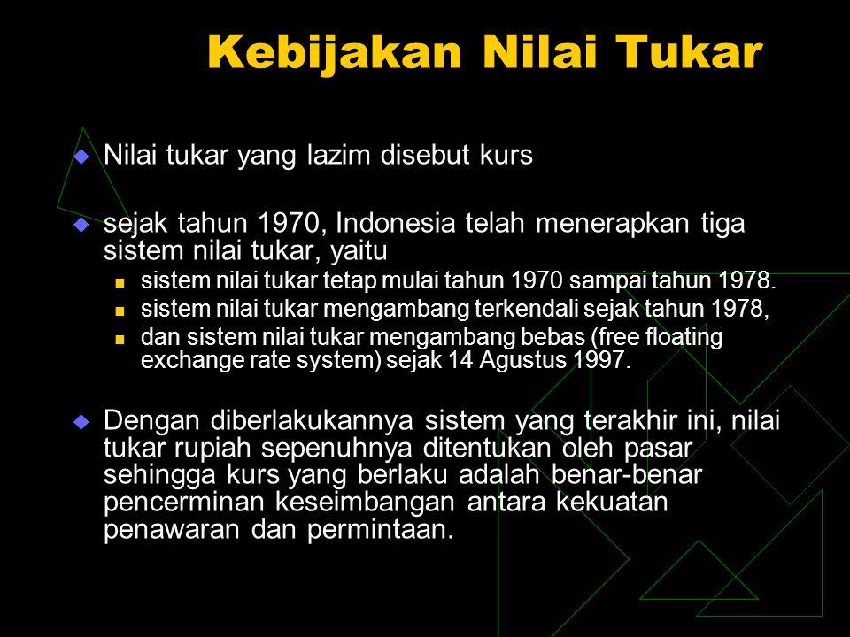 Kebijakan Nilai Tukar  Nilai tukar yang lazim disebut kurs  sejak tahun 1970, Indonesia telah menerapkan tiga sistem nilai tukar, yaitu sistem nilai