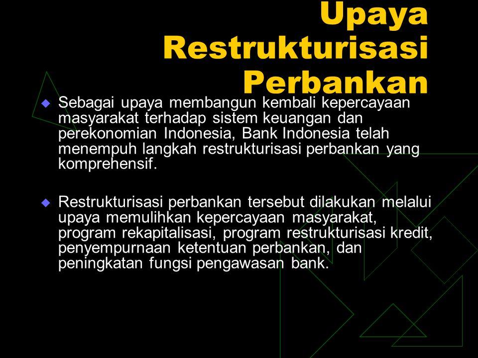 Upaya Restrukturisasi Perbankan  Sebagai upaya membangun kembali kepercayaan masyarakat terhadap sistem keuangan dan perekonomian Indonesia, Bank Ind