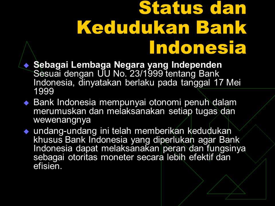 Status dan Kedudukan Bank Indonesia  Sebagai Lembaga Negara yang Independen Sesuai dengan UU No. 23/1999 tentang Bank Indonesia, dinyatakan berlaku p