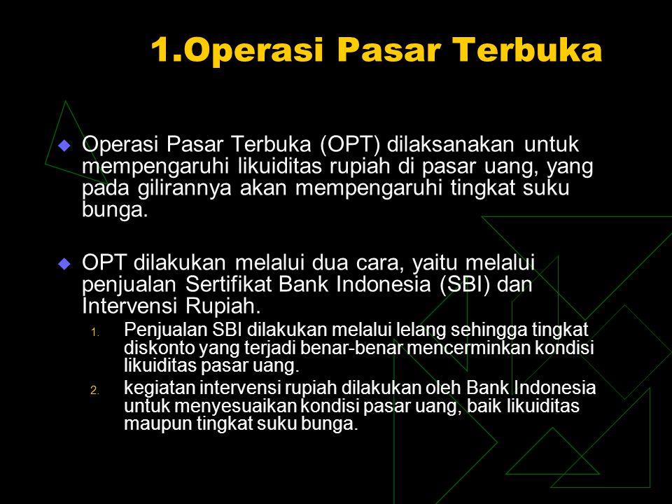 1.Operasi Pasar Terbuka  Operasi Pasar Terbuka (OPT) dilaksanakan untuk mempengaruhi likuiditas rupiah di pasar uang, yang pada gilirannya akan mempe