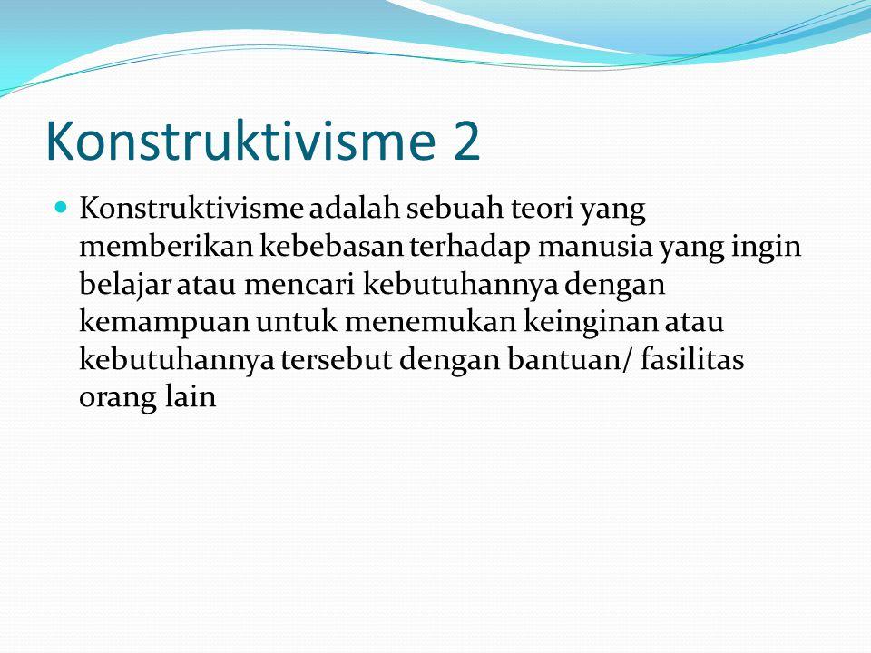 Konstruktivisme 2 Konstruktivisme adalah sebuah teori yang memberikan kebebasan terhadap manusia yang ingin belajar atau mencari kebutuhannya dengan k