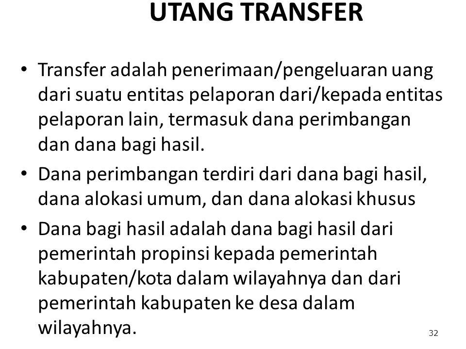 UTANG TRANSFER Transfer adalah penerimaan/pengeluaran uang dari suatu entitas pelaporan dari/kepada entitas pelaporan lain, termasuk dana perimbangan dan dana bagi hasil.