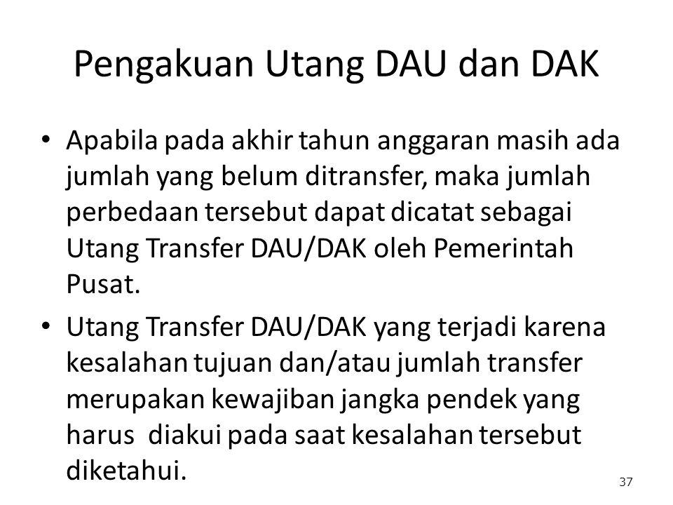 Pengakuan Utang DAU dan DAK Apabila pada akhir tahun anggaran masih ada jumlah yang belum ditransfer, maka jumlah perbedaan tersebut dapat dicatat sebagai Utang Transfer DAU/DAK oleh Pemerintah Pusat.