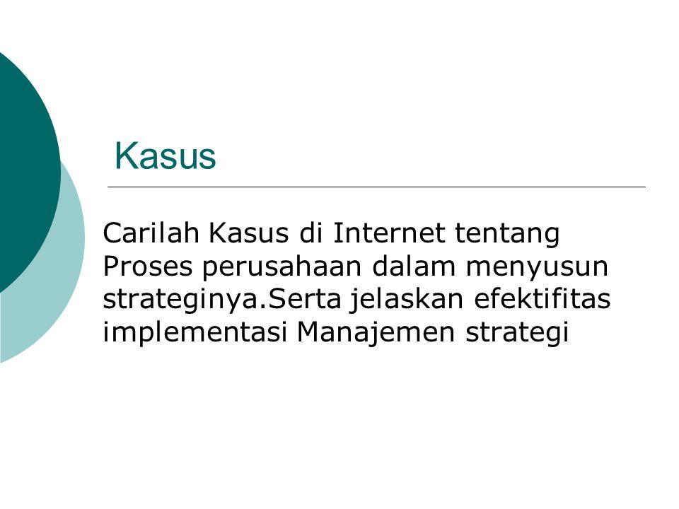 Kasus Carilah Kasus di Internet tentang Proses perusahaan dalam menyusun strateginya.Serta jelaskan efektifitas implementasi Manajemen strategi