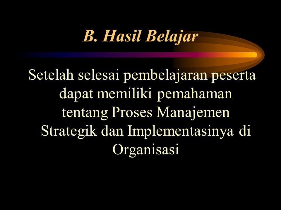 B. Hasil Belajar Setelah selesai pembelajaran peserta dapat memiliki pemahaman tentang Proses Manajemen Strategik dan Implementasinya di Organisasi