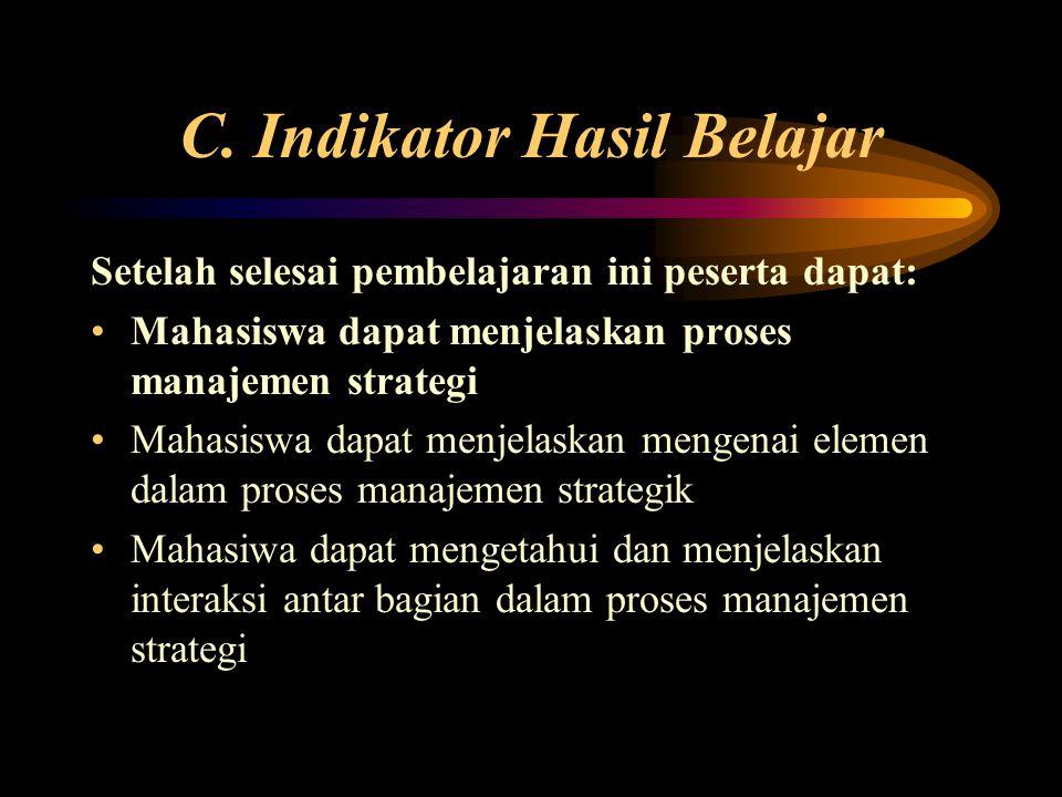 C. Indikator Hasil Belajar Setelah selesai pembelajaran ini peserta dapat: Mahasiswa dapat menjelaskan proses manajemen strategi Mahasiswa dapat menje