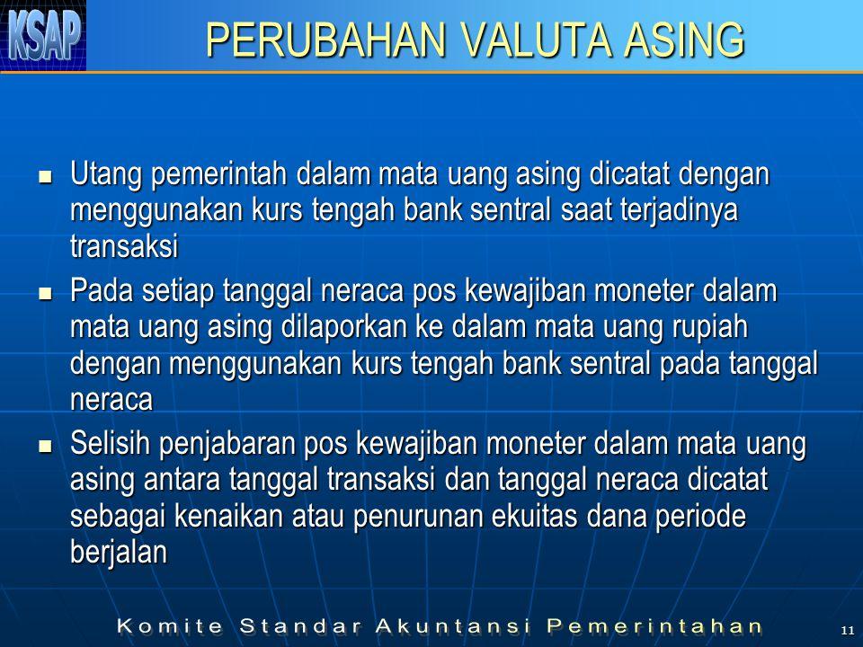 11 PERUBAHAN VALUTA ASING Utang pemerintah dalam mata uang asing dicatat dengan menggunakan kurs tengah bank sentral saat terjadinya transaksi Utang p