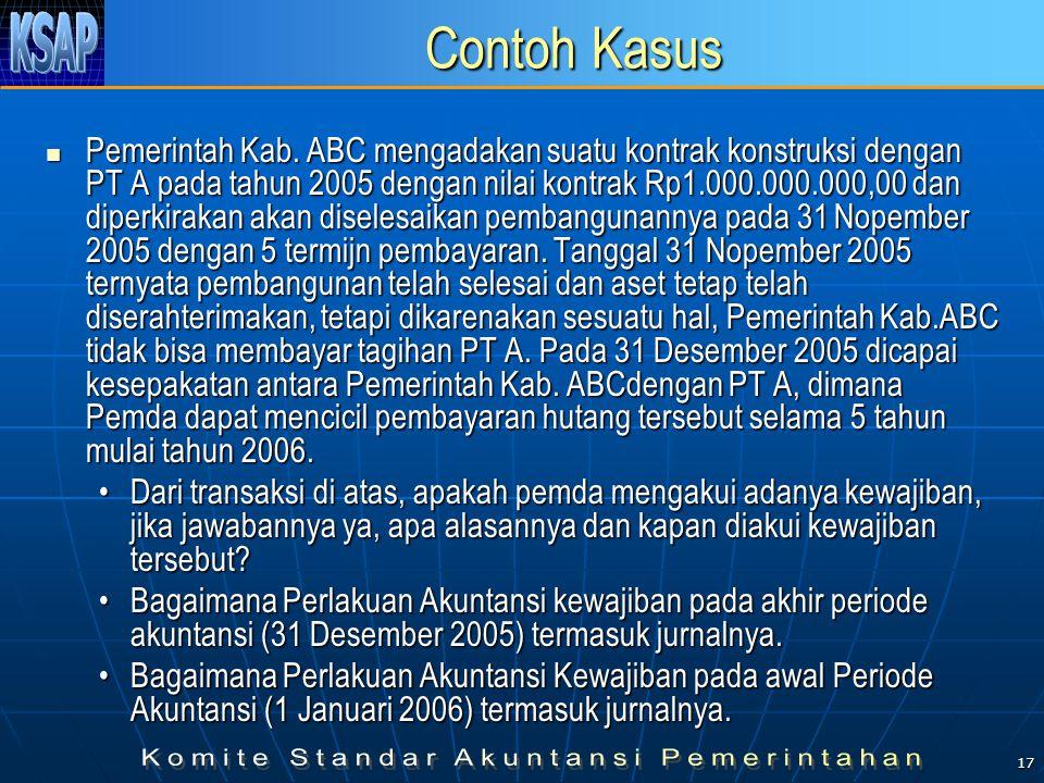 17 Contoh Kasus Pemerintah Kab. ABC mengadakan suatu kontrak konstruksi dengan PT A pada tahun 2005 dengan nilai kontrak Rp1.000.000.000,00 dan diperk
