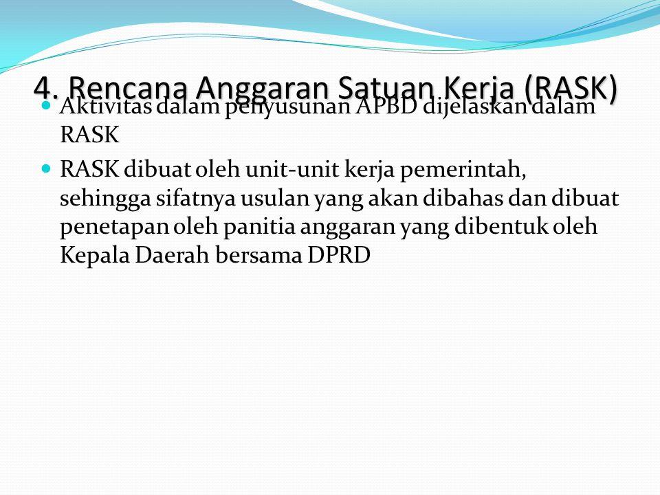4. Rencana Anggaran Satuan Kerja (RASK) Aktivitas dalam penyusunan APBD dijelaskan dalam RASK RASK dibuat oleh unit-unit kerja pemerintah, sehingga si