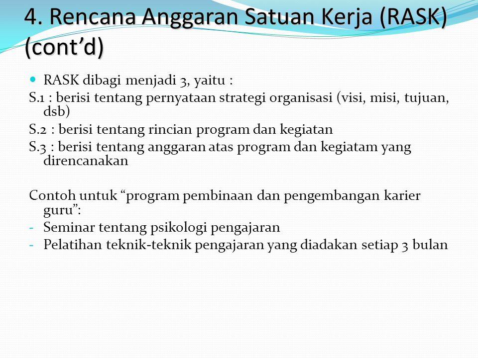 4. Rencana Anggaran Satuan Kerja (RASK) (cont'd) RASK dibagi menjadi 3, yaitu : S.1 : berisi tentang pernyataan strategi organisasi (visi, misi, tujua