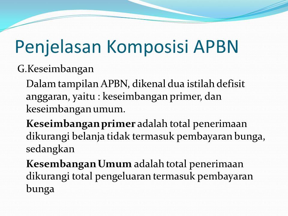 Penjelasan Komposisi APBN G.Keseimbangan Dalam tampilan APBN, dikenal dua istilah defisit anggaran, yaitu : keseimbangan primer, dan keseimbangan umum.