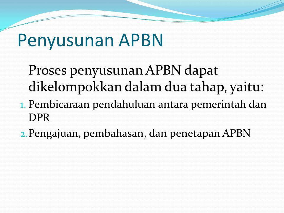 Penyusunan APBN Proses penyusunan APBN dapat dikelompokkan dalam dua tahap, yaitu: 1.