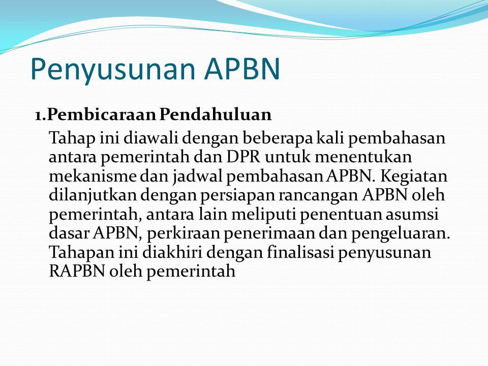 Penyusunan APBN 1.Pembicaraan Pendahuluan Tahap ini diawali dengan beberapa kali pembahasan antara pemerintah dan DPR untuk menentukan mekanisme dan jadwal pembahasan APBN.