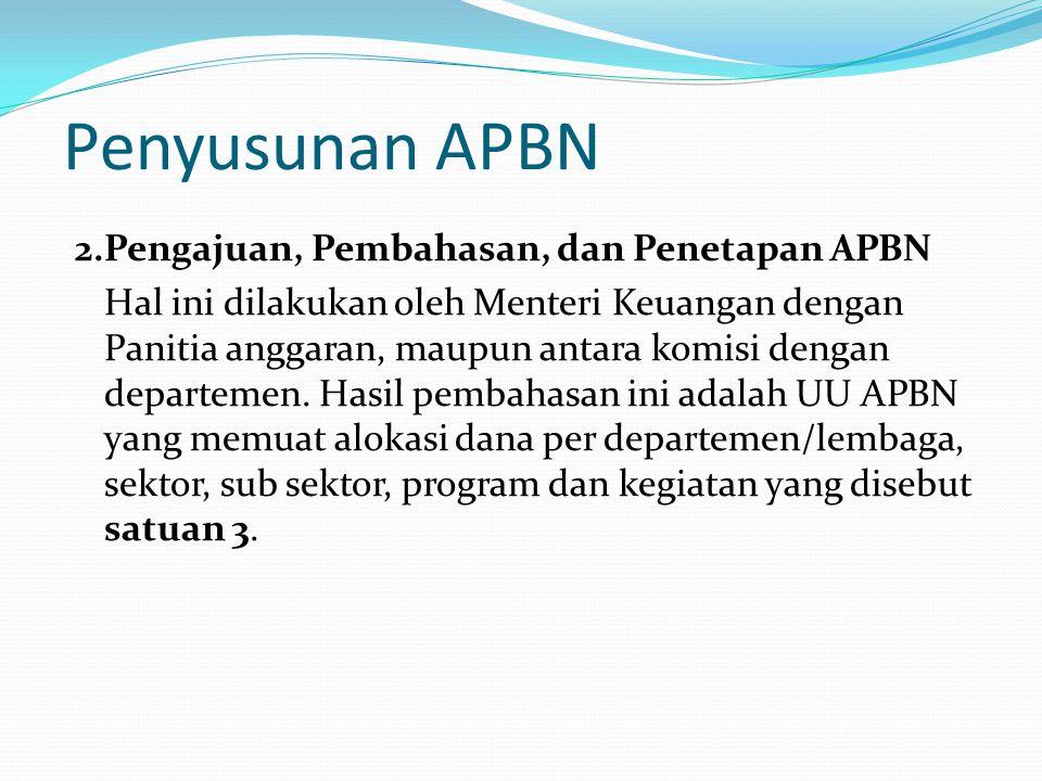 Penyusunan APBN 2.Pengajuan, Pembahasan, dan Penetapan APBN Hal ini dilakukan oleh Menteri Keuangan dengan Panitia anggaran, maupun antara komisi dengan departemen.