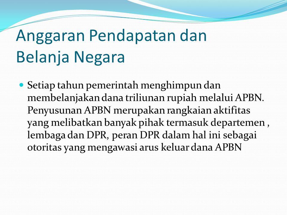 Anggaran Pendapatan dan Belanja Negara Setiap tahun pemerintah menghimpun dan membelanjakan dana triliunan rupiah melalui APBN.