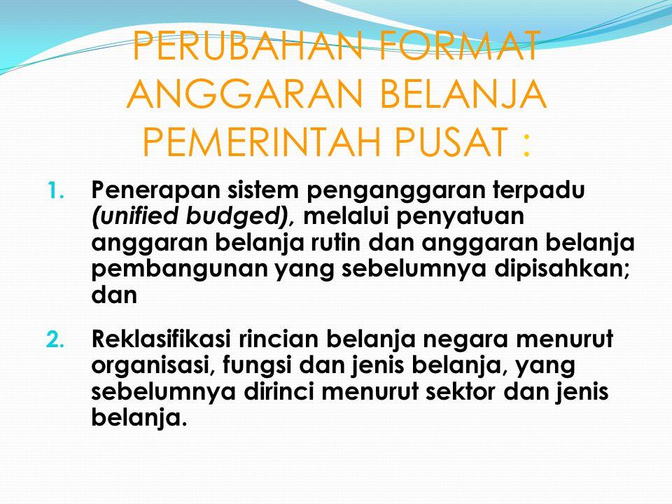 PERUBAHAN FORMAT ANGGARAN BELANJA PEMERINTAH PUSAT : 1.