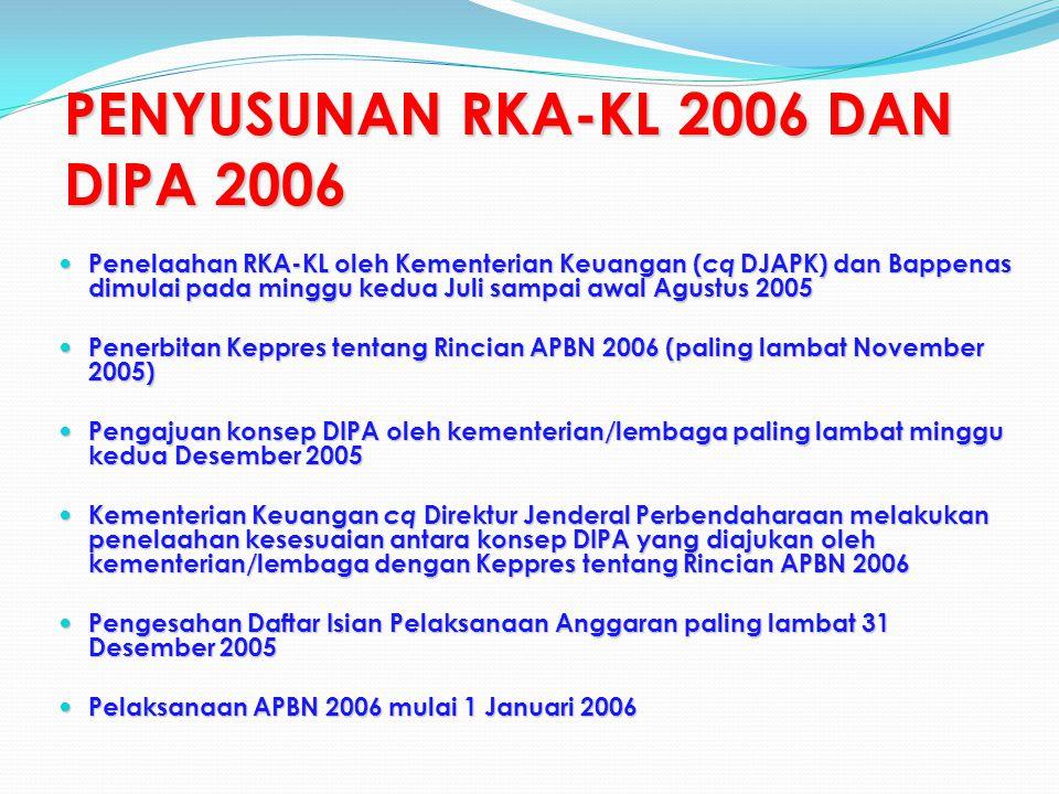 PENYUSUNAN RKA-KL 2006 DAN DIPA 2006 Penelaahan RKA-KL oleh Kementerian Keuangan ( cq DJAPK) dan Bappenas dimulai pada minggu kedua Juli sampai awal Agustus 2005 Penelaahan RKA-KL oleh Kementerian Keuangan ( cq DJAPK) dan Bappenas dimulai pada minggu kedua Juli sampai awal Agustus 2005 Penerbitan Keppres tentang Rincian APBN 2006 (paling lambat November 2005) Penerbitan Keppres tentang Rincian APBN 2006 (paling lambat November 2005) Pengajuan konsep DIPA oleh kementerian/lembaga paling lambat minggu kedua Desember 2005 Pengajuan konsep DIPA oleh kementerian/lembaga paling lambat minggu kedua Desember 2005 Kementerian Keuangan cq Direktur Jenderal Perbendaharaan melakukan penelaahan kesesuaian antara konsep DIPA yang diajukan oleh kementerian/lembaga dengan Keppres tentang Rincian APBN 2006 Kementerian Keuangan cq Direktur Jenderal Perbendaharaan melakukan penelaahan kesesuaian antara konsep DIPA yang diajukan oleh kementerian/lembaga dengan Keppres tentang Rincian APBN 2006 Pengesahan Daftar Isian Pelaksanaan Anggaran paling lambat 31 Desember 2005 Pengesahan Daftar Isian Pelaksanaan Anggaran paling lambat 31 Desember 2005 Pelaksanaan APBN 2006 mulai 1 Januari 2006 Pelaksanaan APBN 2006 mulai 1 Januari 2006