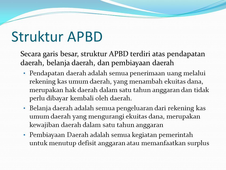 Struktur APBD Secara garis besar, struktur APBD terdiri atas pendapatan daerah, belanja daerah, dan pembiayaan daerah Pendapatan daerah adalah semua penerimaan uang melalui rekening kas umum daerah, yang menambah ekuitas dana, merupakan hak daerah dalam satu tahun anggaran dan tidak perlu dibayar kembali oleh daerah.