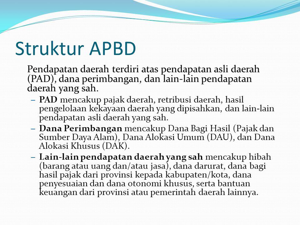 Struktur APBD Pendapatan daerah terdiri atas pendapatan asli daerah (PAD), dana perimbangan, dan lain-lain pendapatan daerah yang sah.