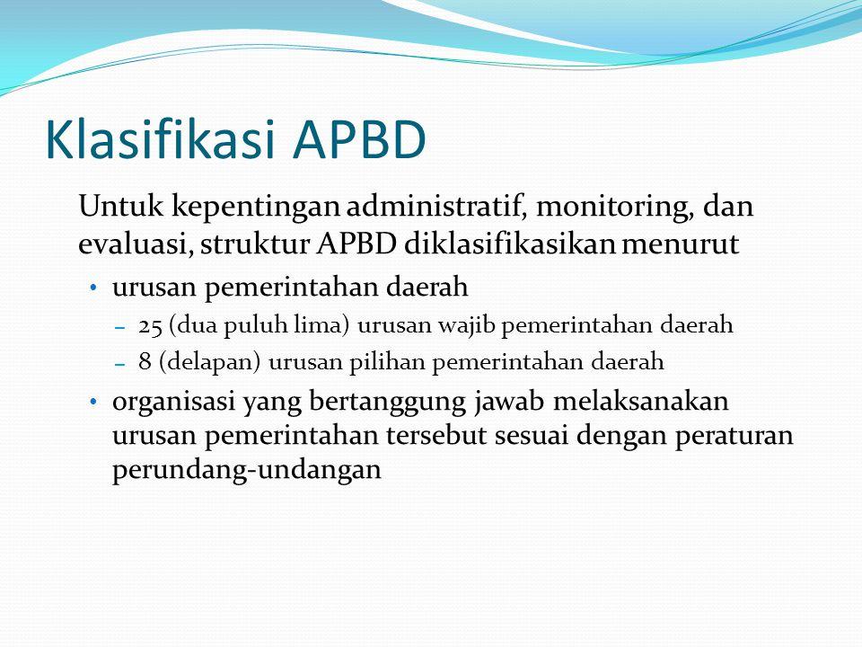 Klasifikasi APBD Untuk kepentingan administratif, monitoring, dan evaluasi, struktur APBD diklasifikasikan menurut urusan pemerintahan daerah – 25 (dua puluh lima) urusan wajib pemerintahan daerah – 8 (delapan) urusan pilihan pemerintahan daerah organisasi yang bertanggung jawab melaksanakan urusan pemerintahan tersebut sesuai dengan peraturan perundang-undangan