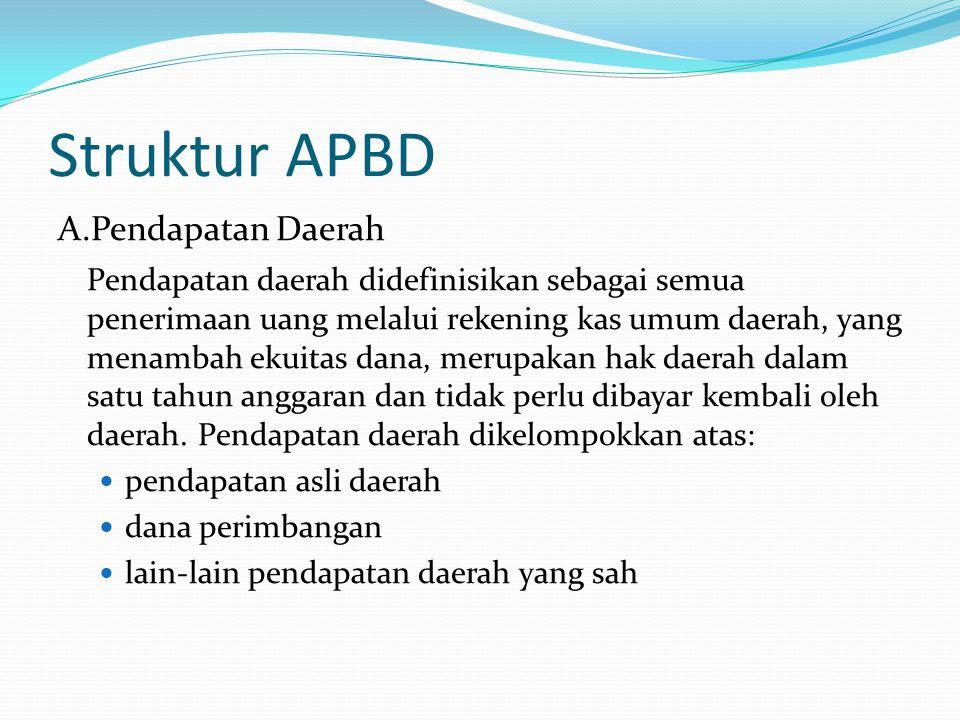 Struktur APBD A.Pendapatan Daerah Pendapatan daerah didefinisikan sebagai semua penerimaan uang melalui rekening kas umum daerah, yang menambah ekuitas dana, merupakan hak daerah dalam satu tahun anggaran dan tidak perlu dibayar kembali oleh daerah.