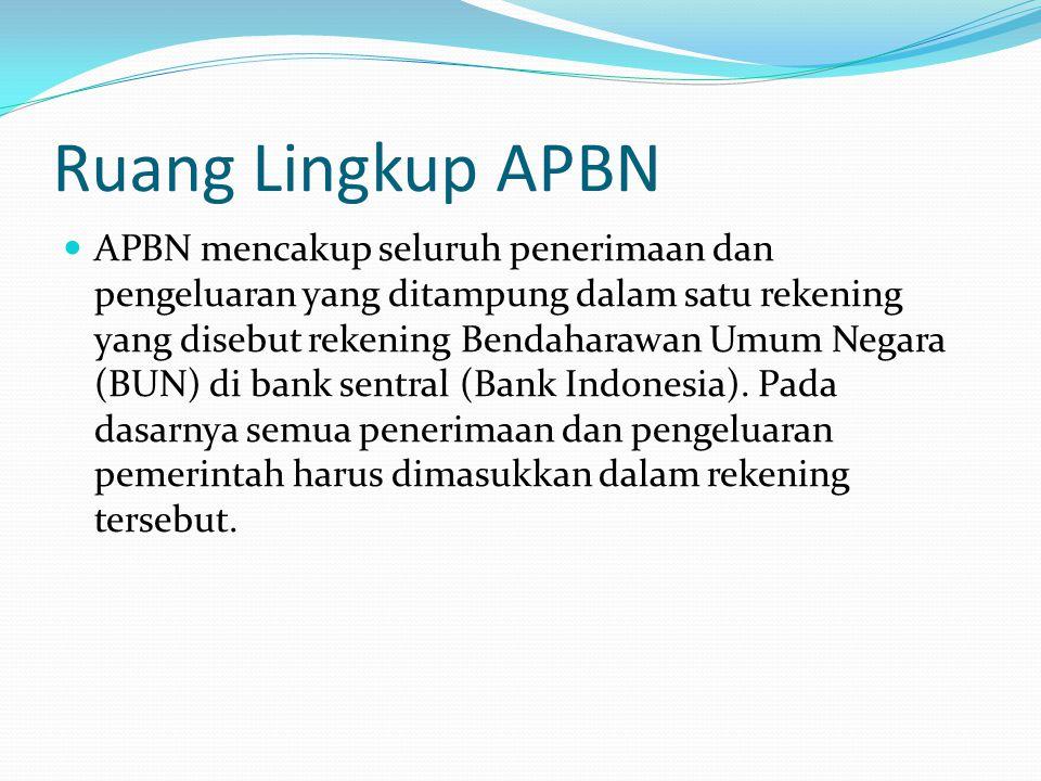 Ruang Lingkup APBN APBN mencakup seluruh penerimaan dan pengeluaran yang ditampung dalam satu rekening yang disebut rekening Bendaharawan Umum Negara (BUN) di bank sentral (Bank Indonesia).