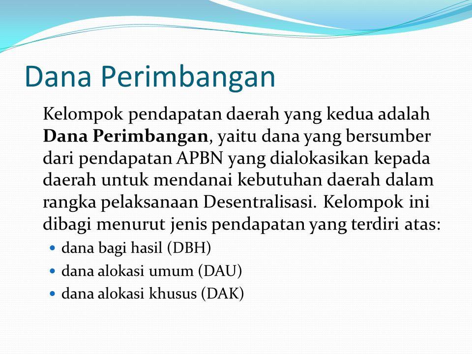 Dana Perimbangan Kelompok pendapatan daerah yang kedua adalah Dana Perimbangan, yaitu dana yang bersumber dari pendapatan APBN yang dialokasikan kepada daerah untuk mendanai kebutuhan daerah dalam rangka pelaksanaan Desentralisasi.