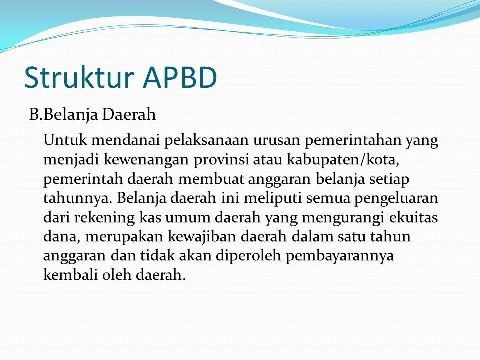 Struktur APBD B.Belanja Daerah Untuk mendanai pelaksanaan urusan pemerintahan yang menjadi kewenangan provinsi atau kabupaten/kota, pemerintah daerah membuat anggaran belanja setiap tahunnya.