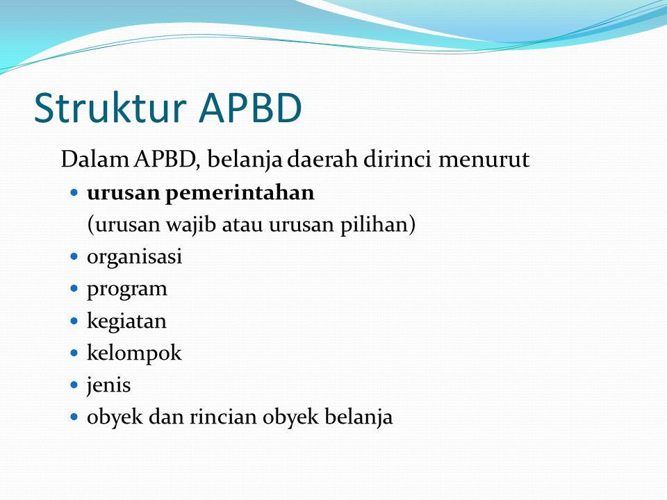 Struktur APBD Dalam APBD, belanja daerah dirinci menurut urusan pemerintahan (urusan wajib atau urusan pilihan) organisasi program kegiatan kelompok jenis obyek dan rincian obyek belanja