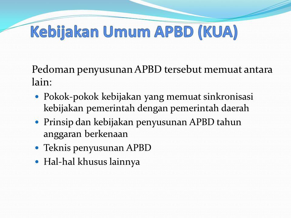 Pedoman penyusunan APBD tersebut memuat antara lain: Pokok-pokok kebijakan yang memuat sinkronisasi kebijakan pemerintah dengan pemerintah daerah Prinsip dan kebijakan penyusunan APBD tahun anggaran berkenaan Teknis penyusunan APBD Hal-hal khusus lainnya